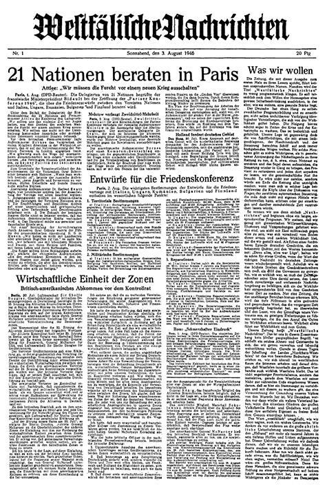 Unternehmensgruppe Aschendorff, Historie, Erste Titelseite Westfälische Nachrichten